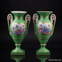 Две парные зеленые вазы с цветами, Carl Thieme, Германия, пер. пол. 20 в