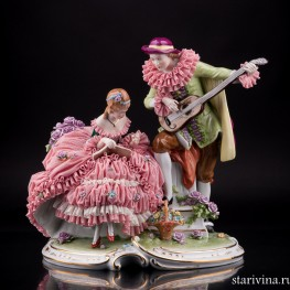Арлекин и дама с книгой, кружевная, Unterweissbach, Германия, вт. пол. 20 в