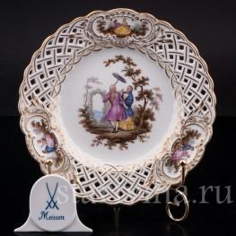 Декоративная Прорезная тарелка с живописью  из фарфора, Meissen, Германия, сер. 19, нач. 20 вв.