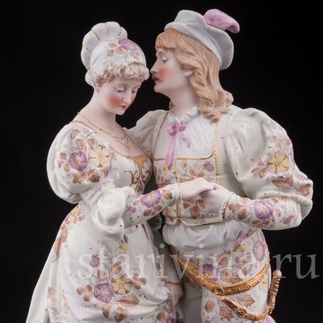 Большая фарфоровая композиция Пара в ренессансных костюмах, Франция, 19 в.