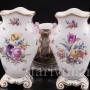 Антикварная фарфоровая композиция Жардиньерка и две вазы, пасторальный гарнитур, Helena Wolfsohn, Германия, 1885-1949 гг.