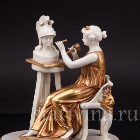 Фарфоровая статуэтка Дама-скульптор, Volkstedt, Германия, до 1935 г.