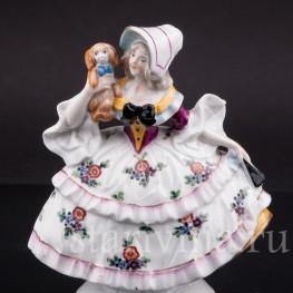 Фигурка из фарфора Девушка с собакой, миниатюра, Ernst Bohne Sohne, Германия, нач. 20 в.