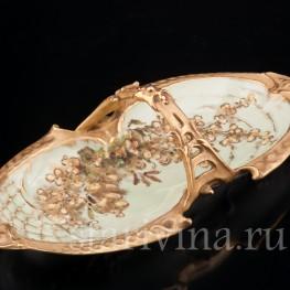 Декоративное фарфоровое Блюдо цветущая ветвь, Wien Teplitz, Австрия, нач. 20 в.